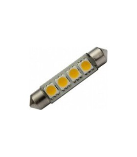 Lemputė 12V SV8.5 su 4LED balta Ø10x39mm