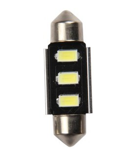 Lemputė 12V SV8.5 su 3LED balta Ø10x39mm